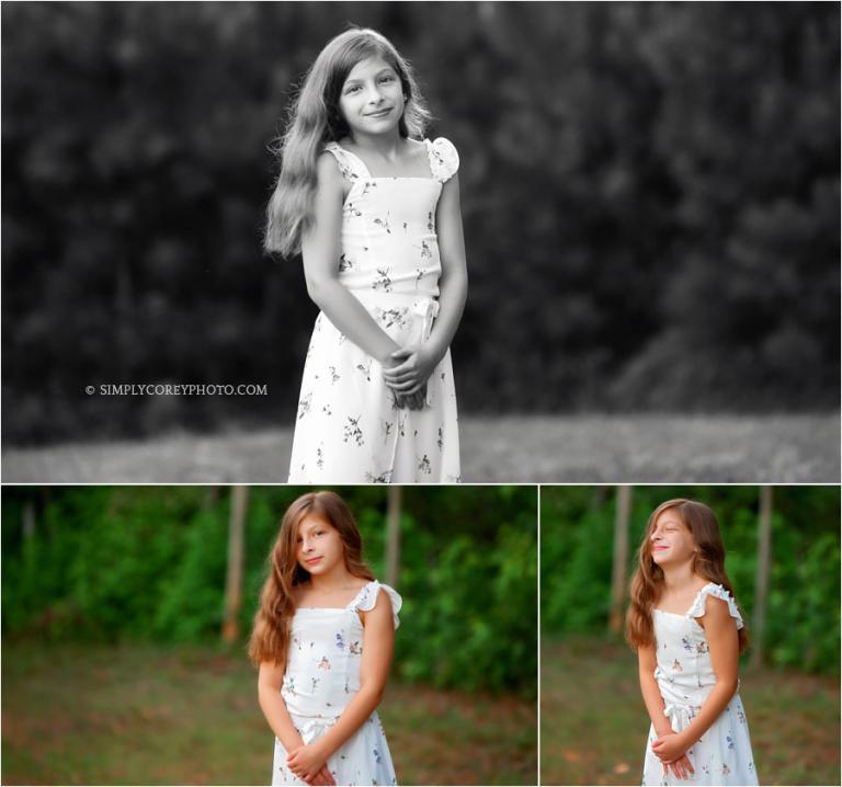 Newnan children's photographer, tween girl outside