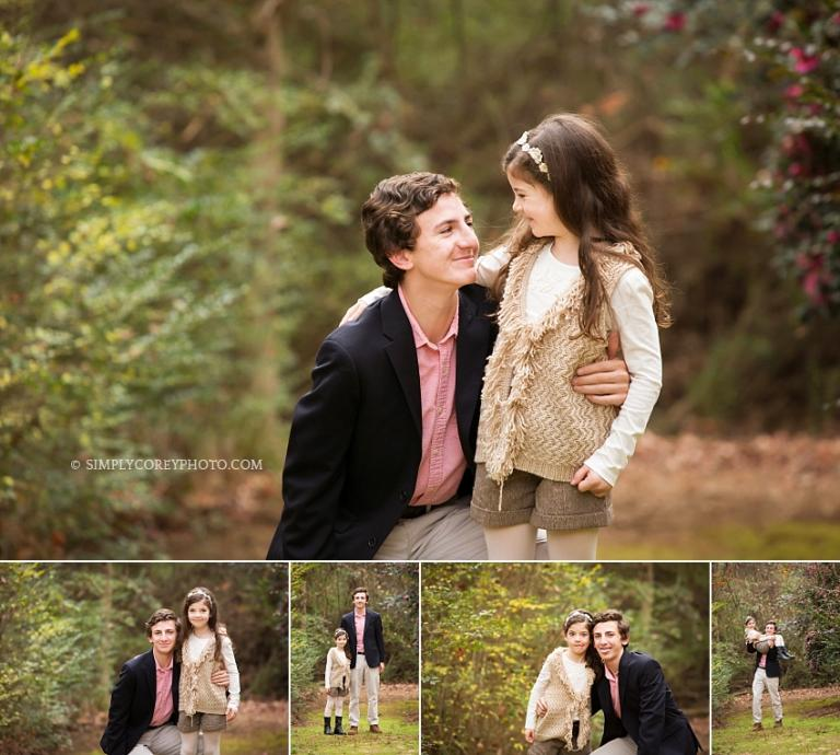 siblings during an on location photography session at home by Atlanta family photographer