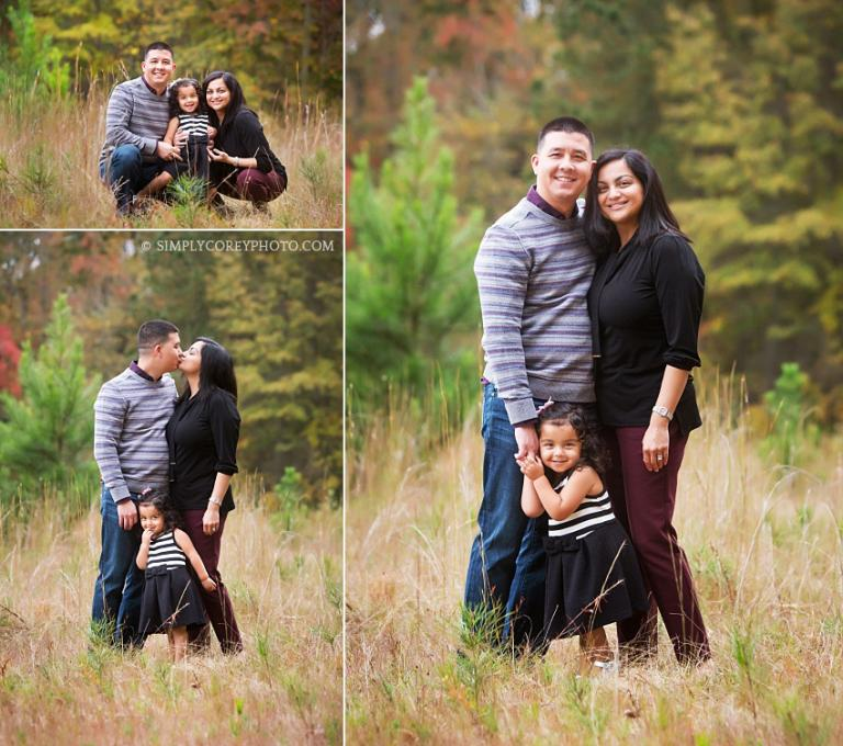 mom and dad with a toddler during an outdoor photography session by west Georgia family photographer