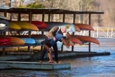 engaged couple with kayaks by Atlanta wedding photographer