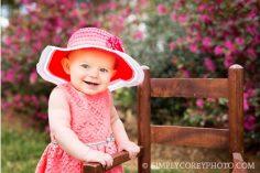 spring portraits near flowers by Atlanta baby photographer