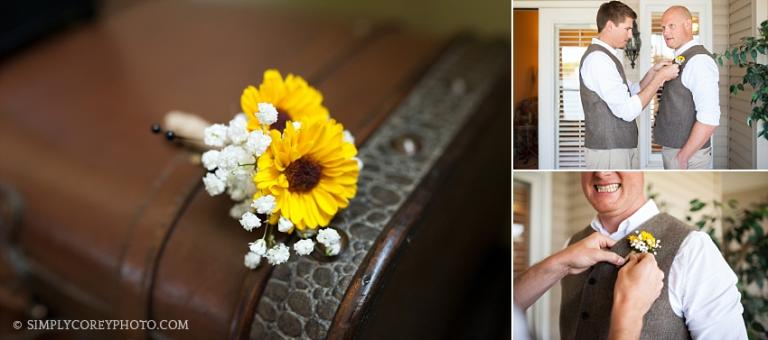 groom with boutonniere by Villa Rica wedding photographer