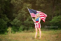 4th of July pinup with a flag by Atlanta senior portrait photographer