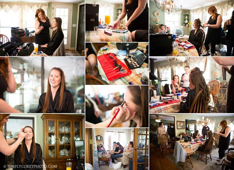 bride getting hair and make up done by Bethany with The Upper Cut Salon, by Villa Rica wedding photographer