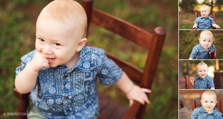 outdoor one year photography session by Carrollton baby photographer