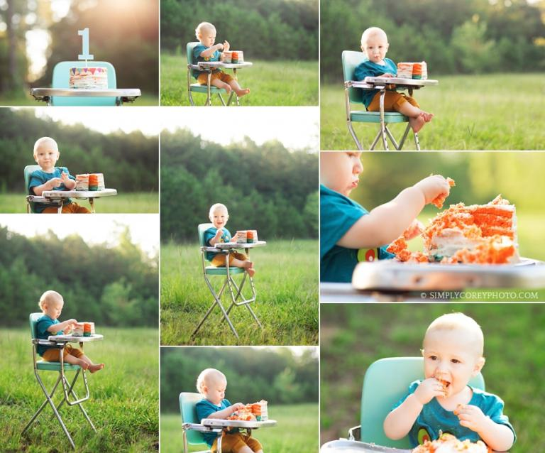 baby in a vintage high chair during an outdoor one year session by Atlanta cake smash photographer