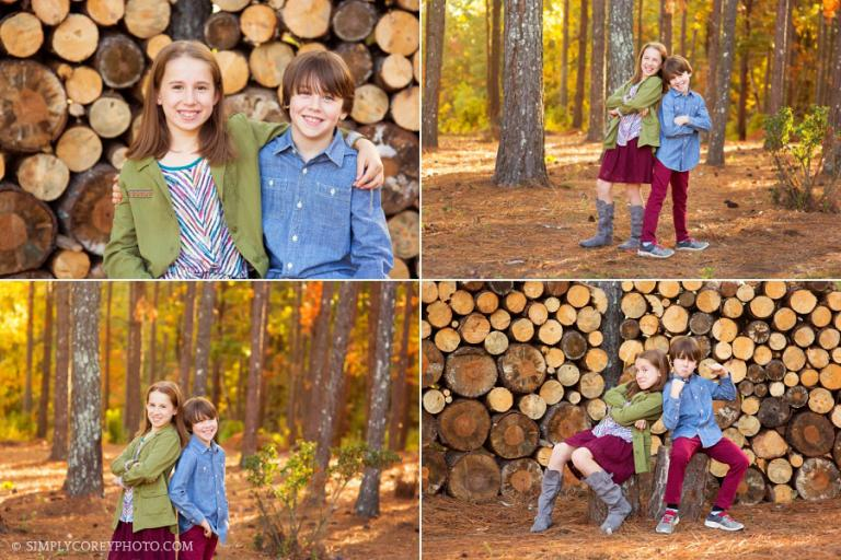 brother and sister during an outdoor family session by Atlanta tween photographer