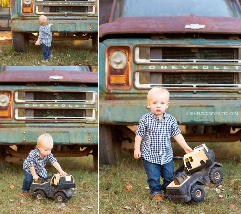 boy with vintage truck by Atlanta baby photographer