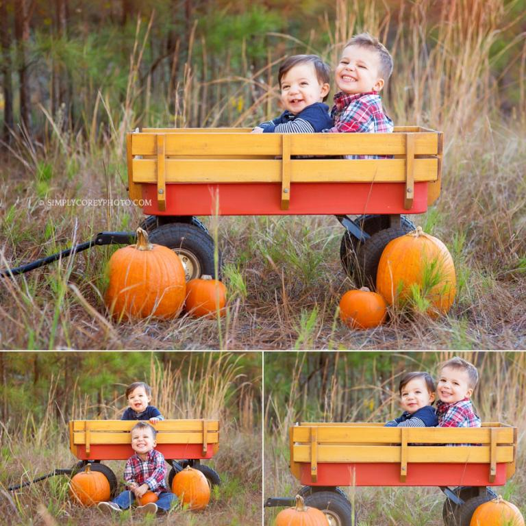 brothers in a wagon by Atlanta child photographer