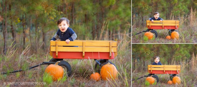 toddler in a wagon by Douglasville baby photographer