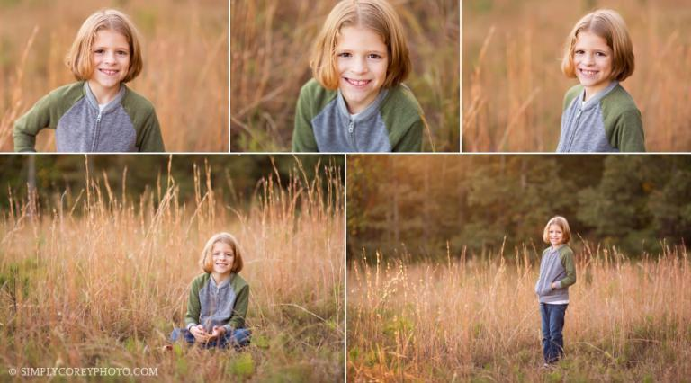 boy in a field with tall grass by Douglasville child photographer