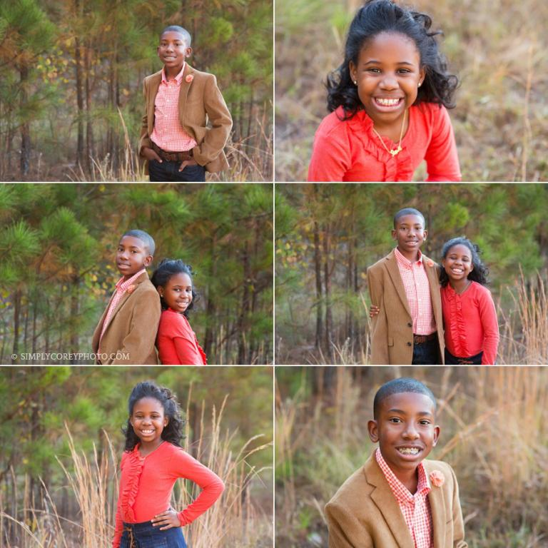 brother and sister in a field with tall grass by Atlanta children's photographer