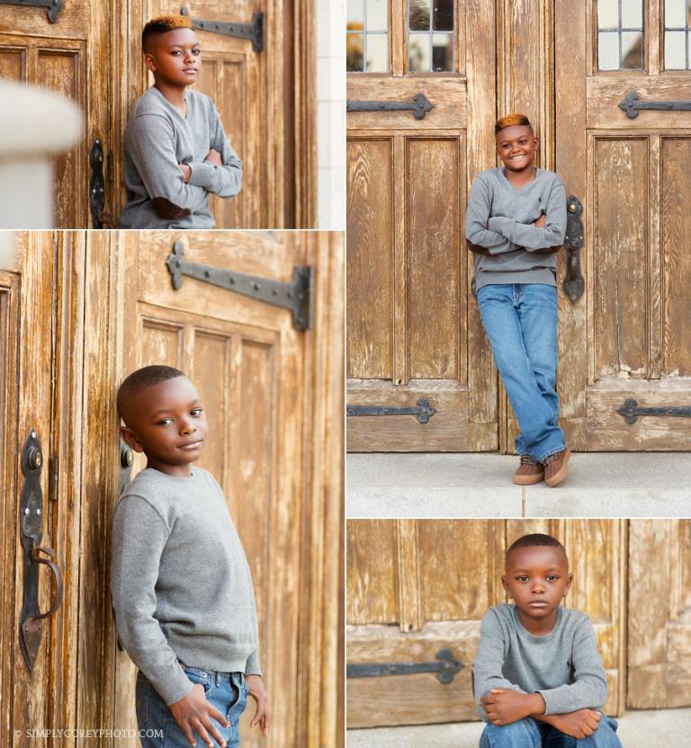 boys by wooden doors at Berry College by Atlanta child photographer