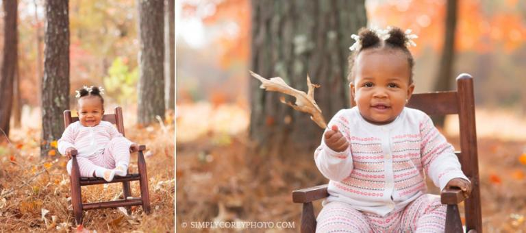 fall portraits of a toddler in a rocking chair by Carrollton baby photographer