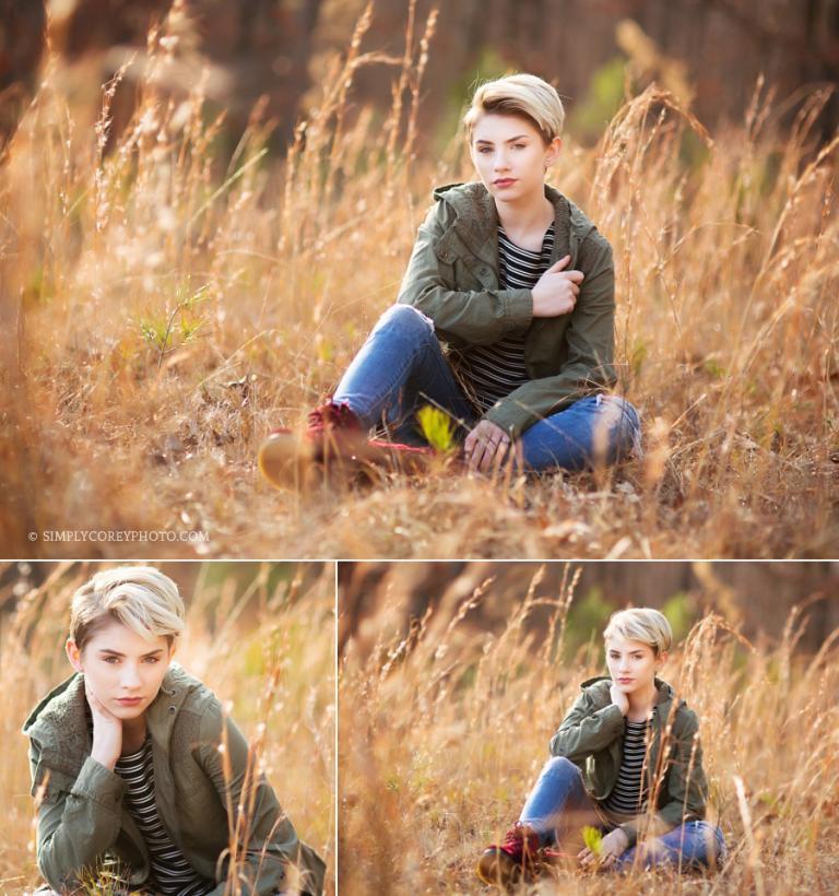 teen girl model in a field by Newnan teen photographer