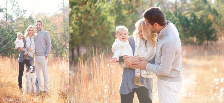 outdoor family portraits with a baby by Carrollton family photographer