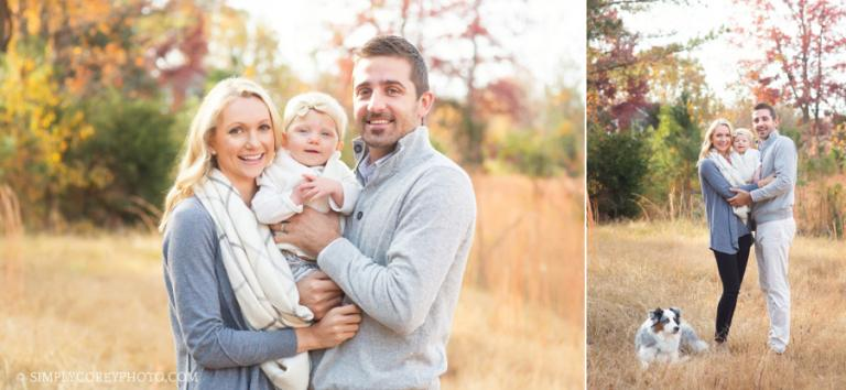 outdoor family portraits with a baby and a dog by Atlanta family photographer