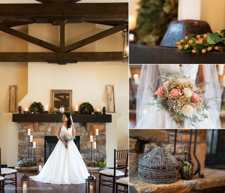 bride near a fireplace by Atlanta elopement photographer