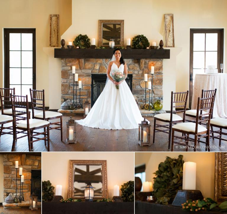bride in front of a fireplace by Douglasville elopement photographer