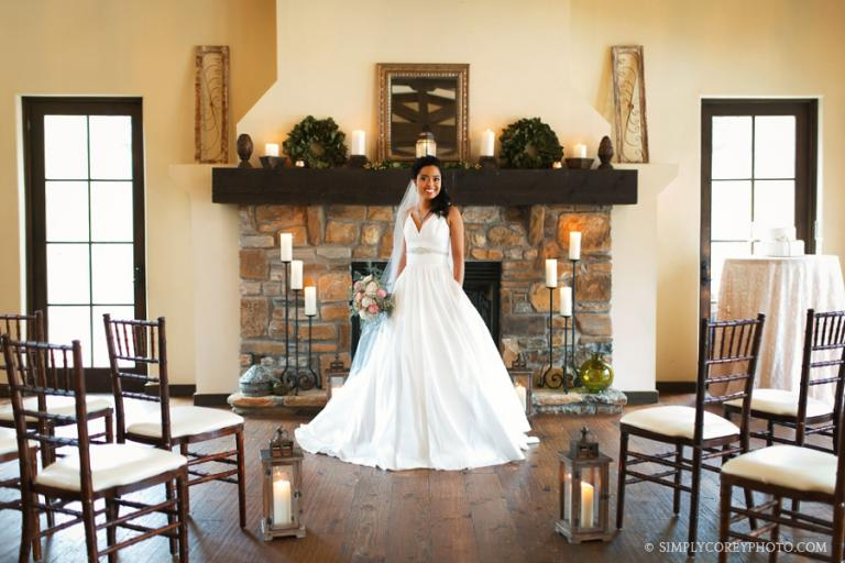 Villa Rica elopement photography of a bride in front of a fireplace