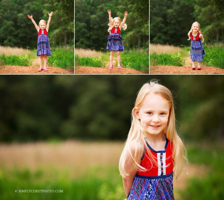 little girl jumping outside by Carrollton child photographer