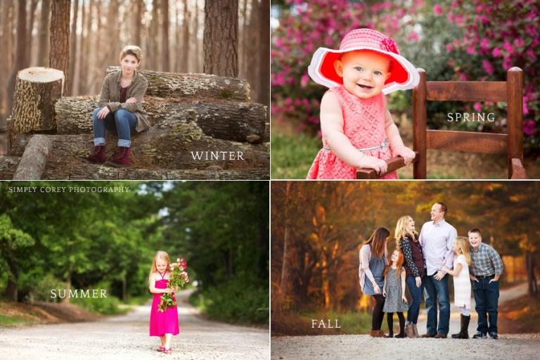 Atlanta family photographer, Simply Corey Photography, shows photos in every season