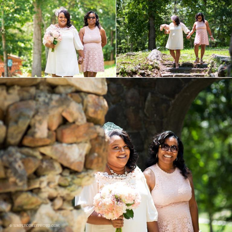 bride walking with mother by west Georgia elopement photographer