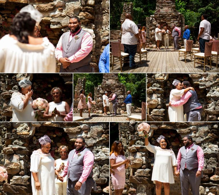 mid-day elopement ceremony at Pine Mountain Gold Museum ruins by Atlanta wedding photographer
