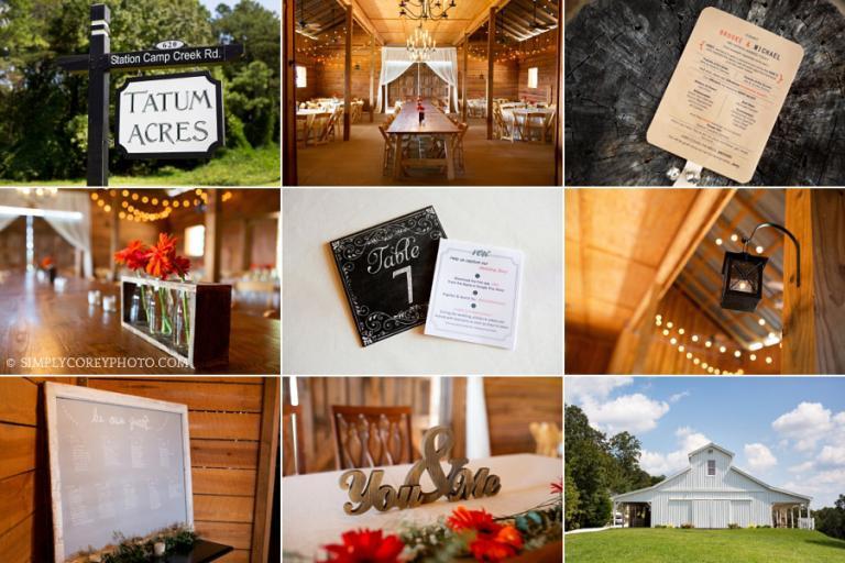 Atlanta wedding photography details at The Barn at Tatum Acres