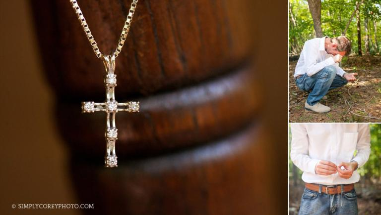 groom with a cross necklace by douglasville wedding photographer