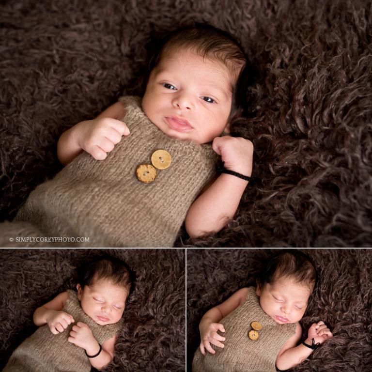 baby boy in brown by Douglasville newborn photographer