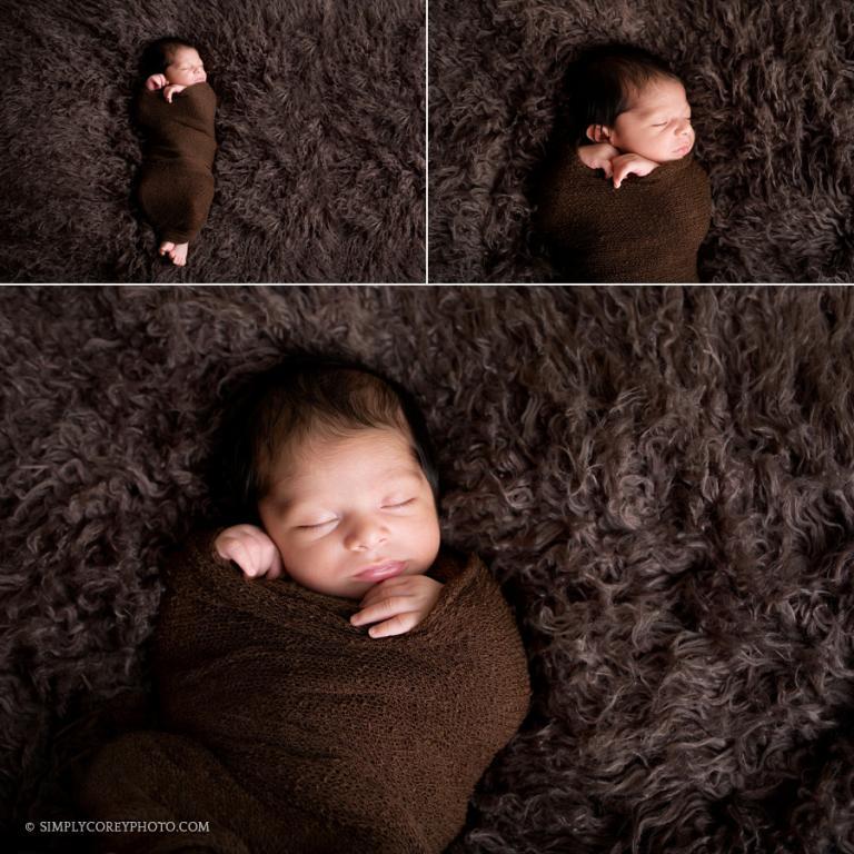 baby boy in brown wrap by Newnan newborn photographer