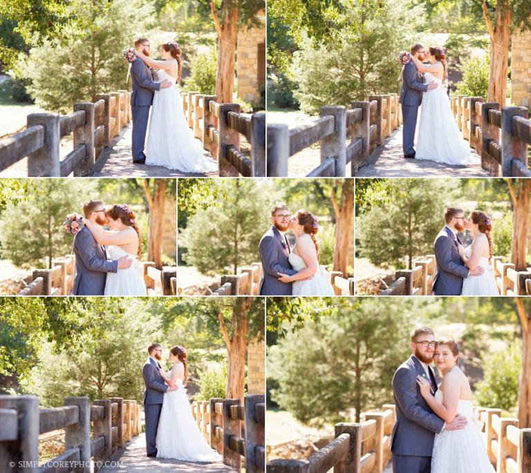 Bride And Groom On A Bridge In Indian Springs State Park By Newnan Wedding Photographer