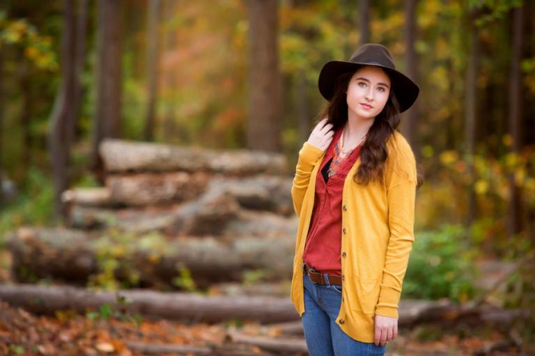 Carrollton senior portrait photography of an outdoor fall portrait session