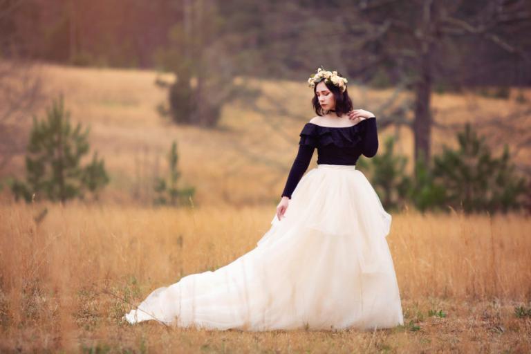 Atlanta senior portrait photographer, girl in a tulle skirt and flower crown
