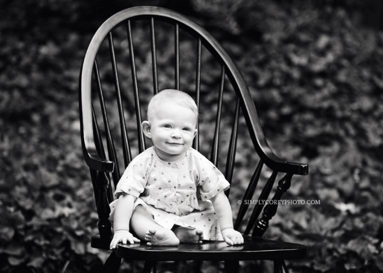 Douglasville baby photographer, girl in chair in black and white