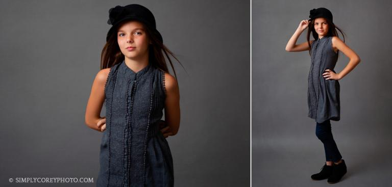 Newnan headshot photographer for children, girl with hat in studio