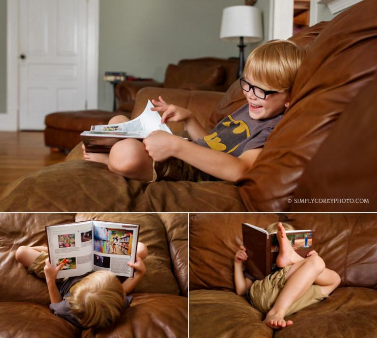 Atlanta lifestyle photographer, child reading a My Social Book album