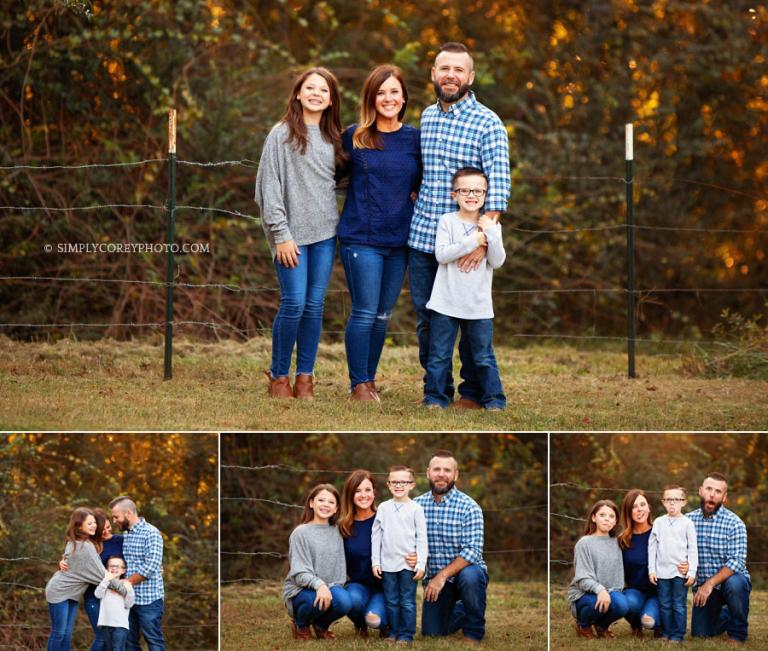 Carrollton family photographer, outdoor session at home for family of four