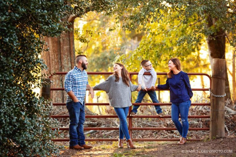Villa Rica family photographer,outdoor portrait by a country gate