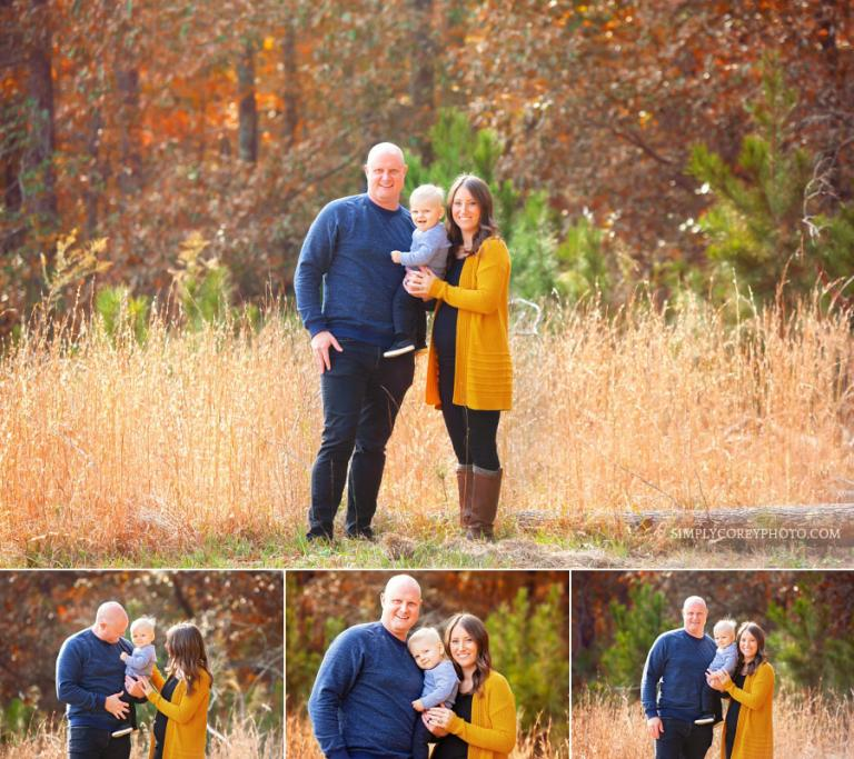 Villa Rica family photographer, outside portrait in tall grass