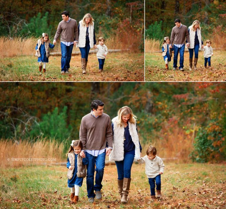 Carrollton family photographer, parents walking with kids in the fall