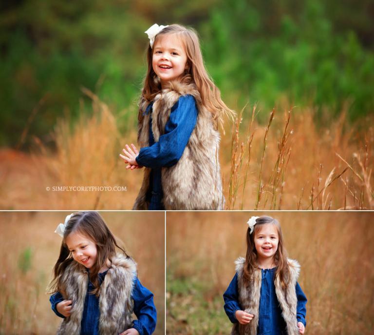 Villa Rica children's photographer, girl in fur vest outside in fall portraits
