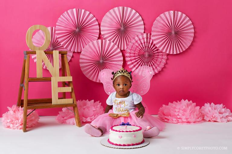 Atlanta cake smash photographer, pink fairy princess theme