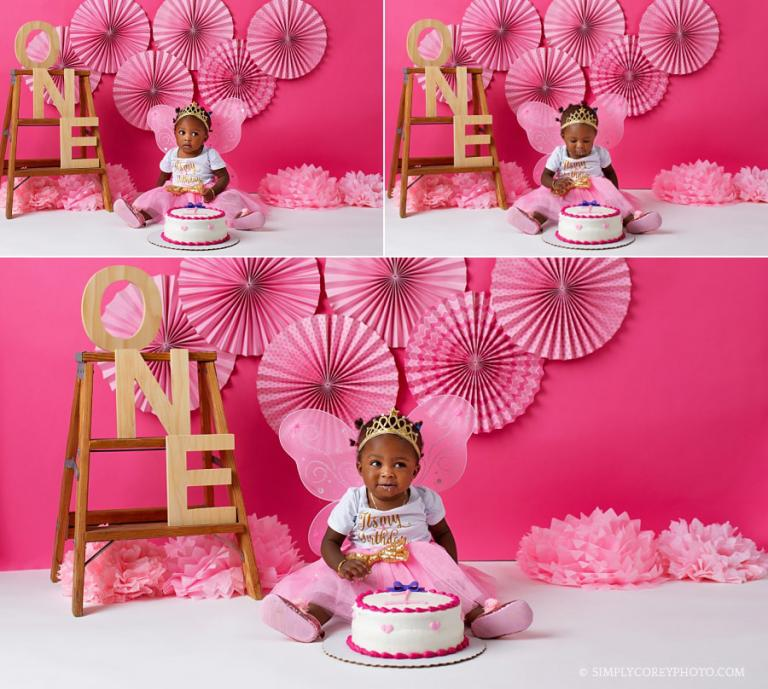 Douglasville cake smash photographer, baby girl and princess pink decor