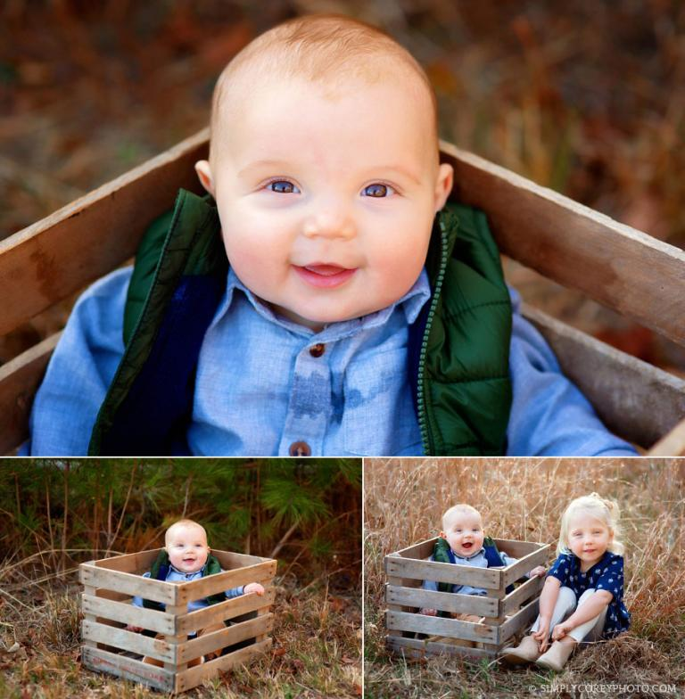 Atlanta baby photographer, outside photos in a crate with older sister
