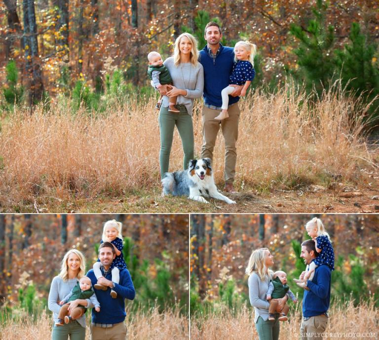 Carrollton family photographer, fall portraits with kids and Australian Shepherd