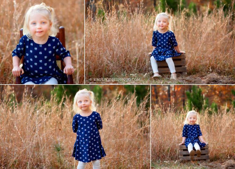 Douglasville kids photographer, blonde girl outside in tall grass