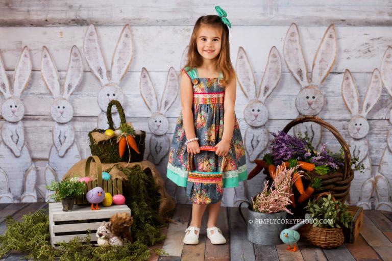 Atlanta spring mini sessions with a bunny backdrop in studio