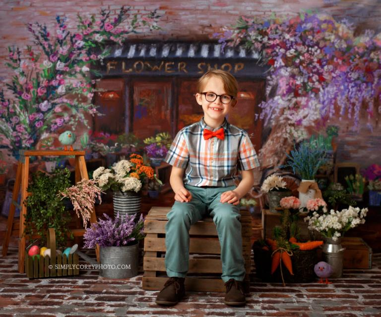 Atlanta Spring Mini Sessions for 2019 in studio with a flower shop background